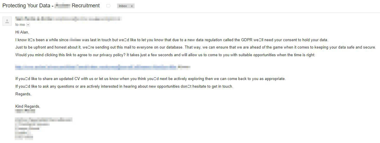 An example of a Recruitment Agency email running a Consent Initiative project